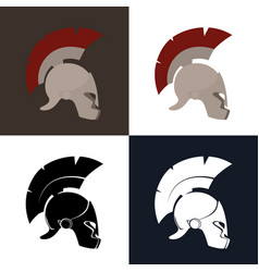 Color and silhouette roman helmet vector