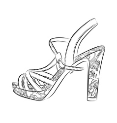 Elegant womens high heel shoe on white background vector