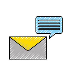 Envelope with speech bubble message icon vector
