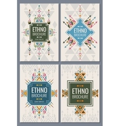 Ethnic tribal indian and mexican style brochure vector