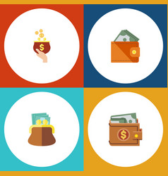 flat icon billfold set of pouch money wallet and vector image vector image