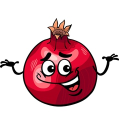 funny pomegranate fruit cartoon vector image vector image