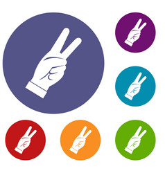 Hand showing victory sign icons set vector