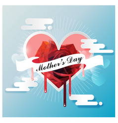 Happy mothers day on white ribbon with red rose vector