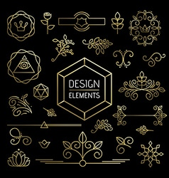 Icon set gold line art mono outline ornament vector