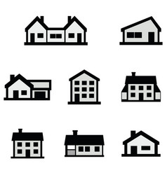 Line house icons set on white background vector