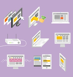 Modern gadgets and web page templates collection vector
