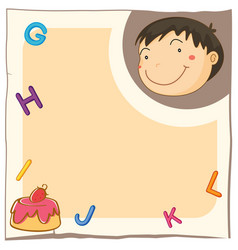 paper template with cute boy and cake vector image vector image