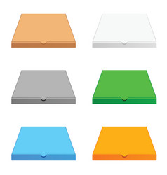 Pizza cardboard box in six color vector