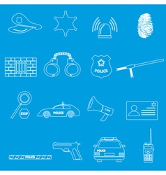 police whihe outline simple icons set eps10 vector image vector image