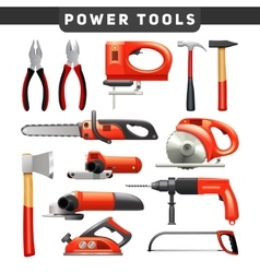 Power tools red black pictograms collection vector