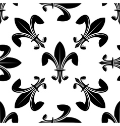 Seamless fleur de lys pattern in black and white vector