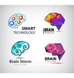 set of brain technology brainstorm logo vector image vector image