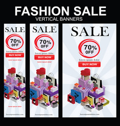 Set of fashion sale vertical banners vector
