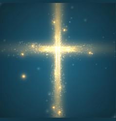 Shining cross on blue background vector