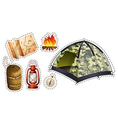Sticker set of camping equipment vector