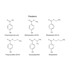 Structural chemical formulas of parabens vector image vector image