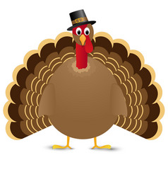 Thanksgiving turkey bird isolated on white vector