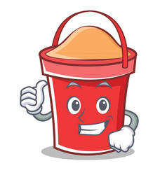 thumbs up bucket character cartoon style vector image vector image