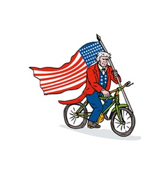 Uncle sam riding bike vector
