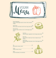 Vegan cafe menu typographic layout vector