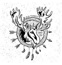 Vintage grunge label with moose vector