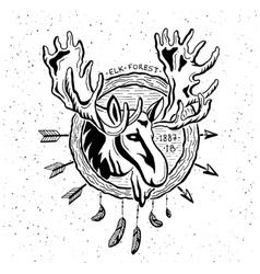 vintage grunge label with moose vector image