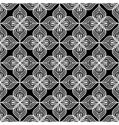 White openwork lace seamless pattern on black vector image vector image