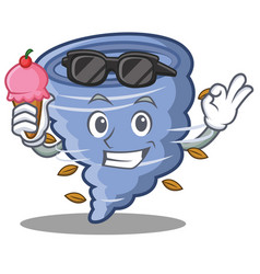 With ice cream tornado character cartoon style vector