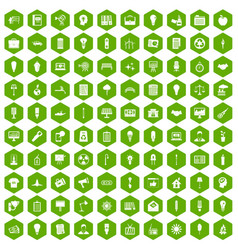100 lamp icons hexagon green vector