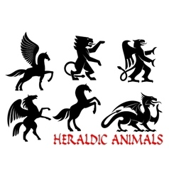 Heraldic mythical animals icons vector