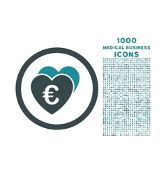 Euro favorites rounded icon with 1000 bonus icons vector