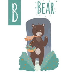 Bear with colorful background staying in wood with vector