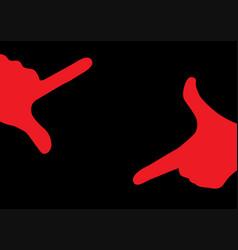 Red hands creating creative finger frame vector