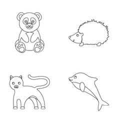 Panda hedgehog dolphin pantheranimal set vector