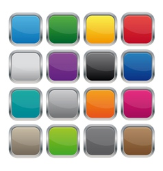 Metallic square buttons vector