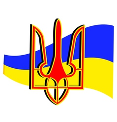 Emblem and flag of ukraine vector
