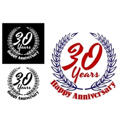 30 years happy anniversary icons vector