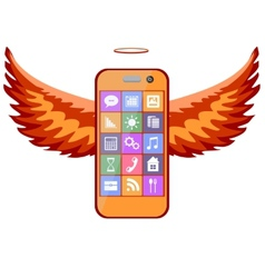 Mobile phone with wings vector