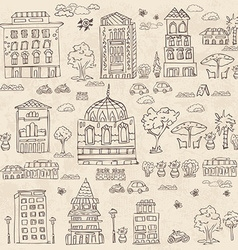 Doodle set of houses with trees vector