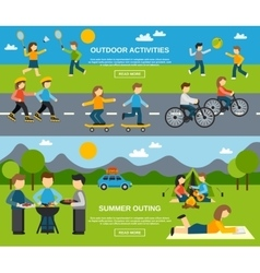 Outing banner set vector