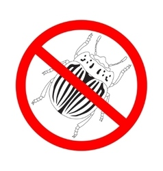 Prohibition sign colorado potato beetle vector