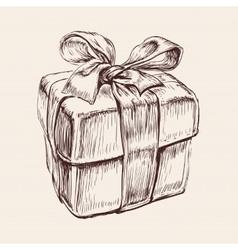Gift box hand drawn vector