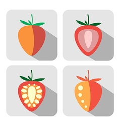 Set of colorful icons of strawberries vector