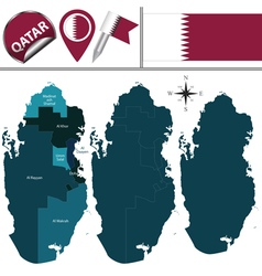 Qatar map with named divisions vector