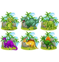 Six dinosaurs in the forest vector