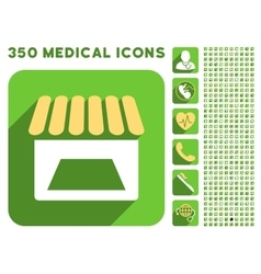 Store facade icon and medical longshadow icon set vector