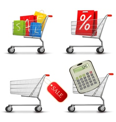 collection of shopping carts vector image