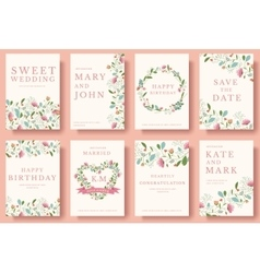 Set of flower invitation cards colorful greeting vector