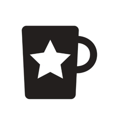 Black icon on white background cup with vector